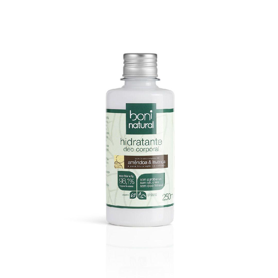 Kit Boni Natural Amêndoa e Lavanda:Hidratante Deo Corporal 250ml + Sabonete Líquido 500ml