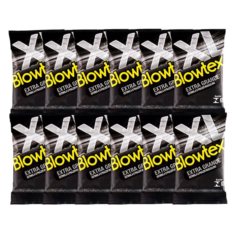 Kit C/ 12 Pacts Preservativo Blowtex Extra Grande c/ 3 Un Cada