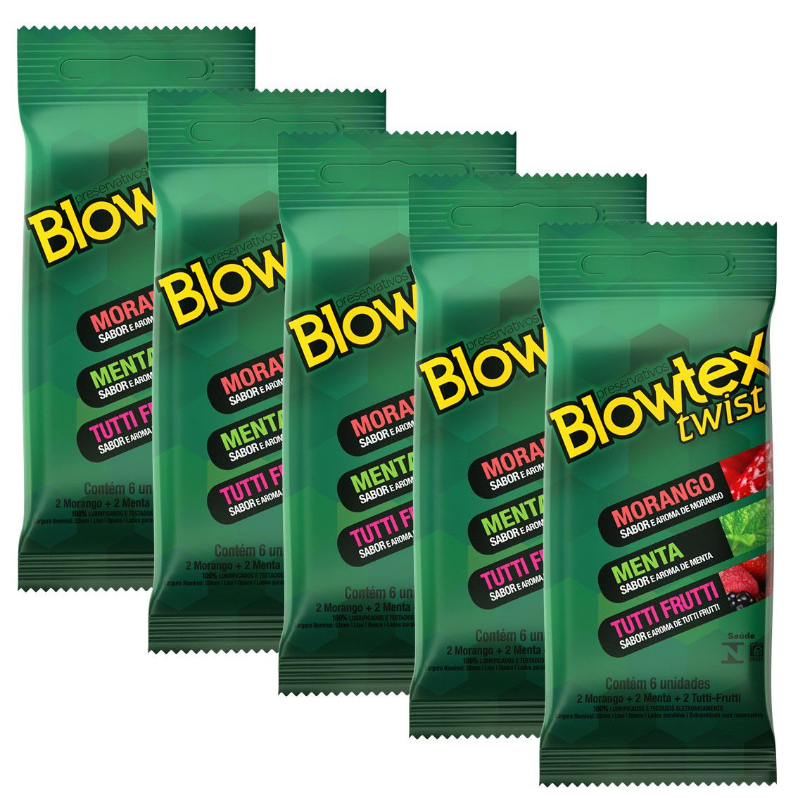Kit C/ 12 Pacts Preservativo Blowtex Twist c/ 6 Un Cada
