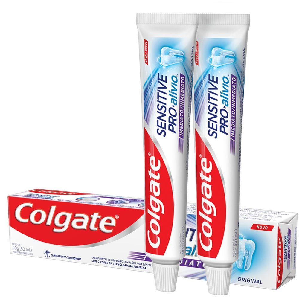 Kit c/ 2 Cremes Dentais Colgate Sensitive Pro-Alívio Real White 50g