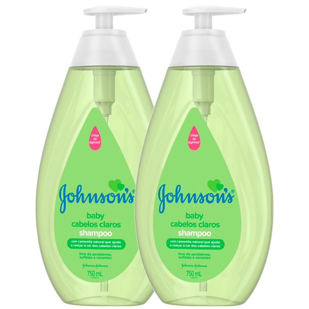 Kit C/ 2 Shampoo Johnson's Baby Cabelos Claros 750ml