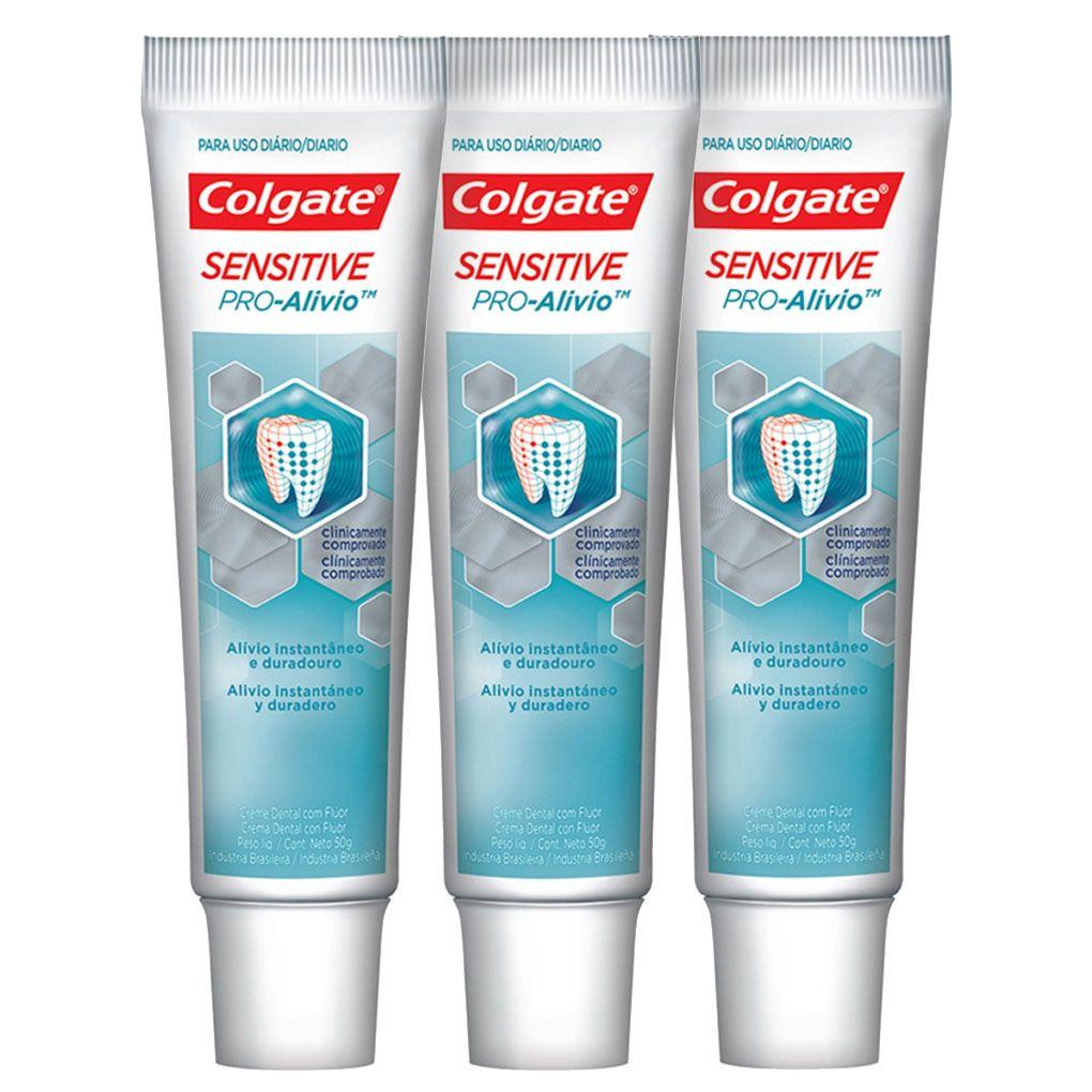 Kit C/ 3 Creme Dental Colgate Sensitive Pro-Alívio 50g