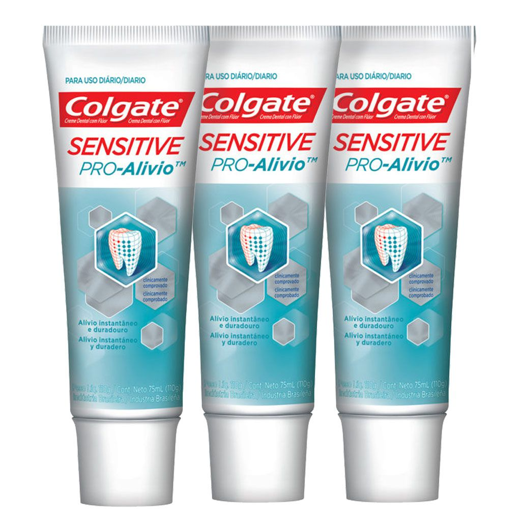 Kit C/ 3 Cremes Dentais Colgate Sensitive Pro-Alívio 110g