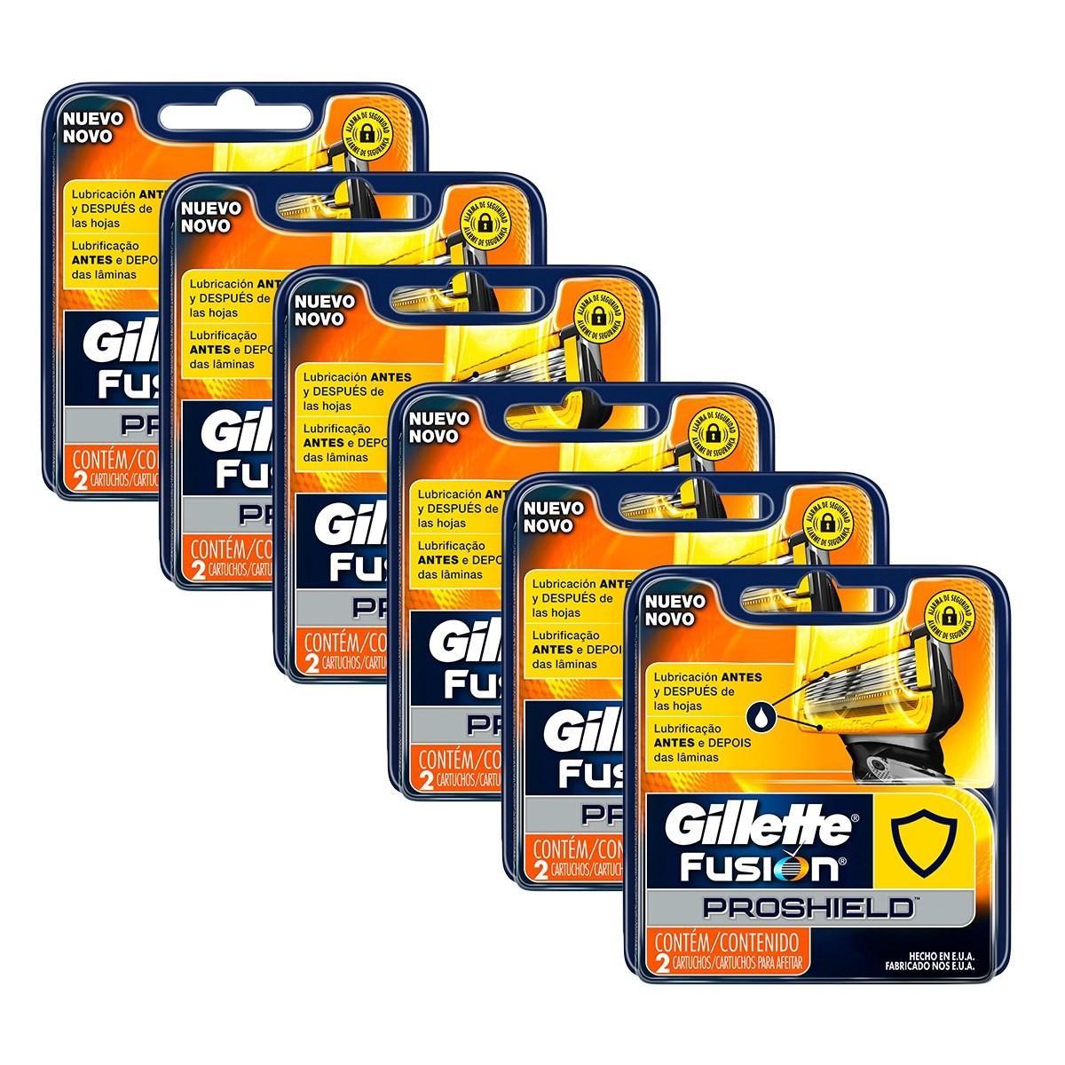Kit Carga Gillette Aparelho de Barbear Fusion Proshield c/12
