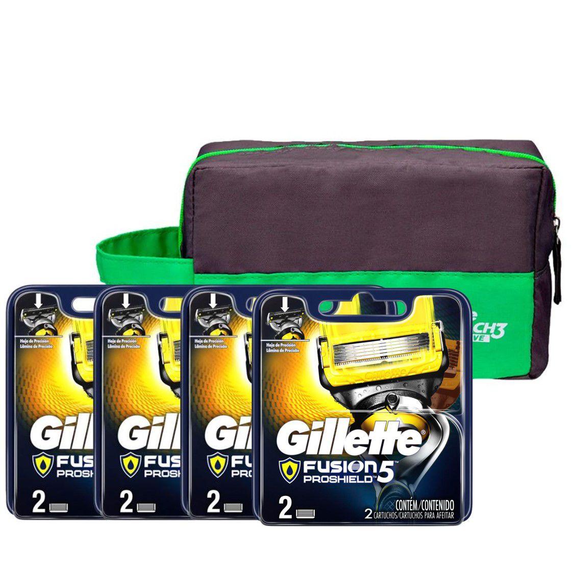 Kit Carga Gillette Fusion Proshield com 8 Unidades + Necessaire