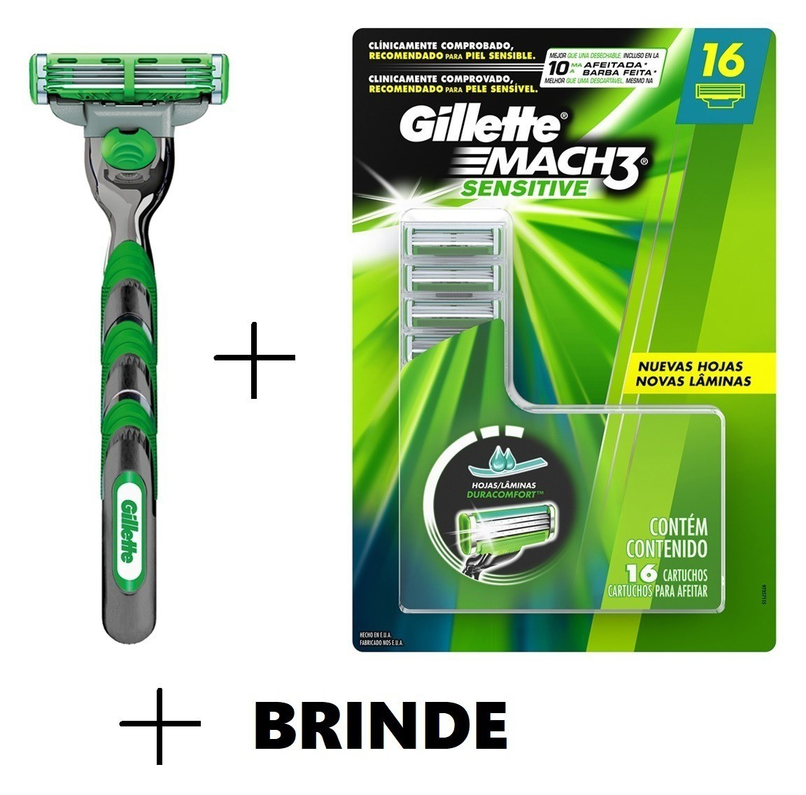 Kit Carga Gillette Mach3 Sensitive com 12 unidades + Brinde
