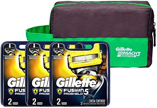 Kit Cargas Gillette Fusion Proshield com 6 Unidades + Necessarie Gillette