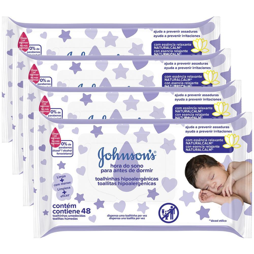 Kit ccom 4 Toalhinhas Johnson's Baby Hora do Sono c/48