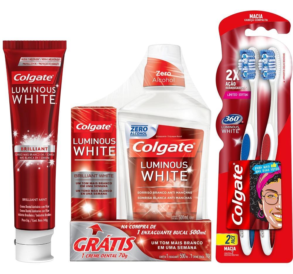 Kit Colgate Creme Dental 140g + Escova Dental Leve 2 Pg 1 + Enxaguante Bucal 500ml - Grátis 1 Creme Dental