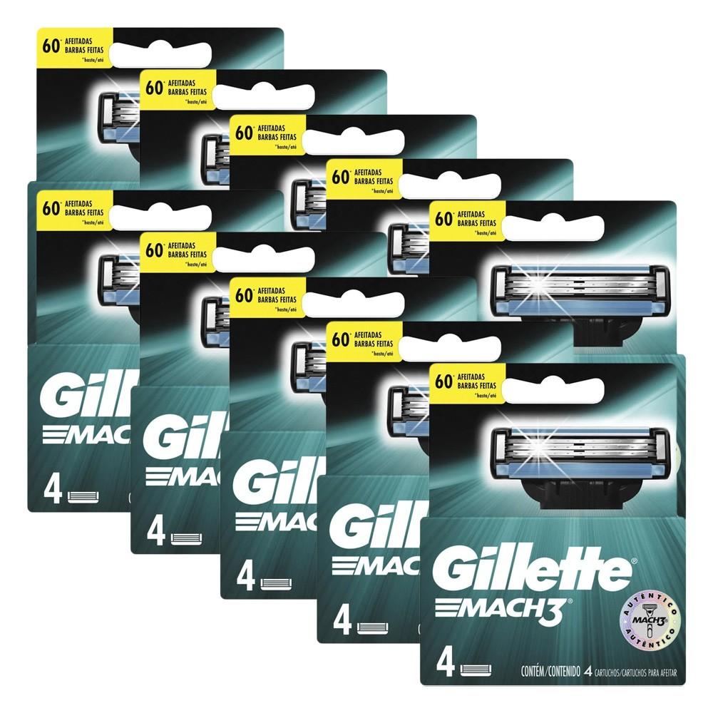 Kit com 10 Carga Gillette Mach3 c/ 4 unidades