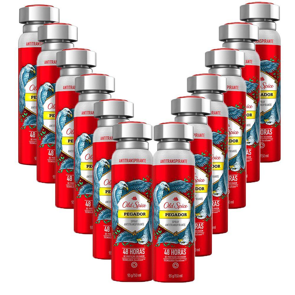 Kit com 12 Desodorantes Antitranspirante Old Spice Pegador 150mL