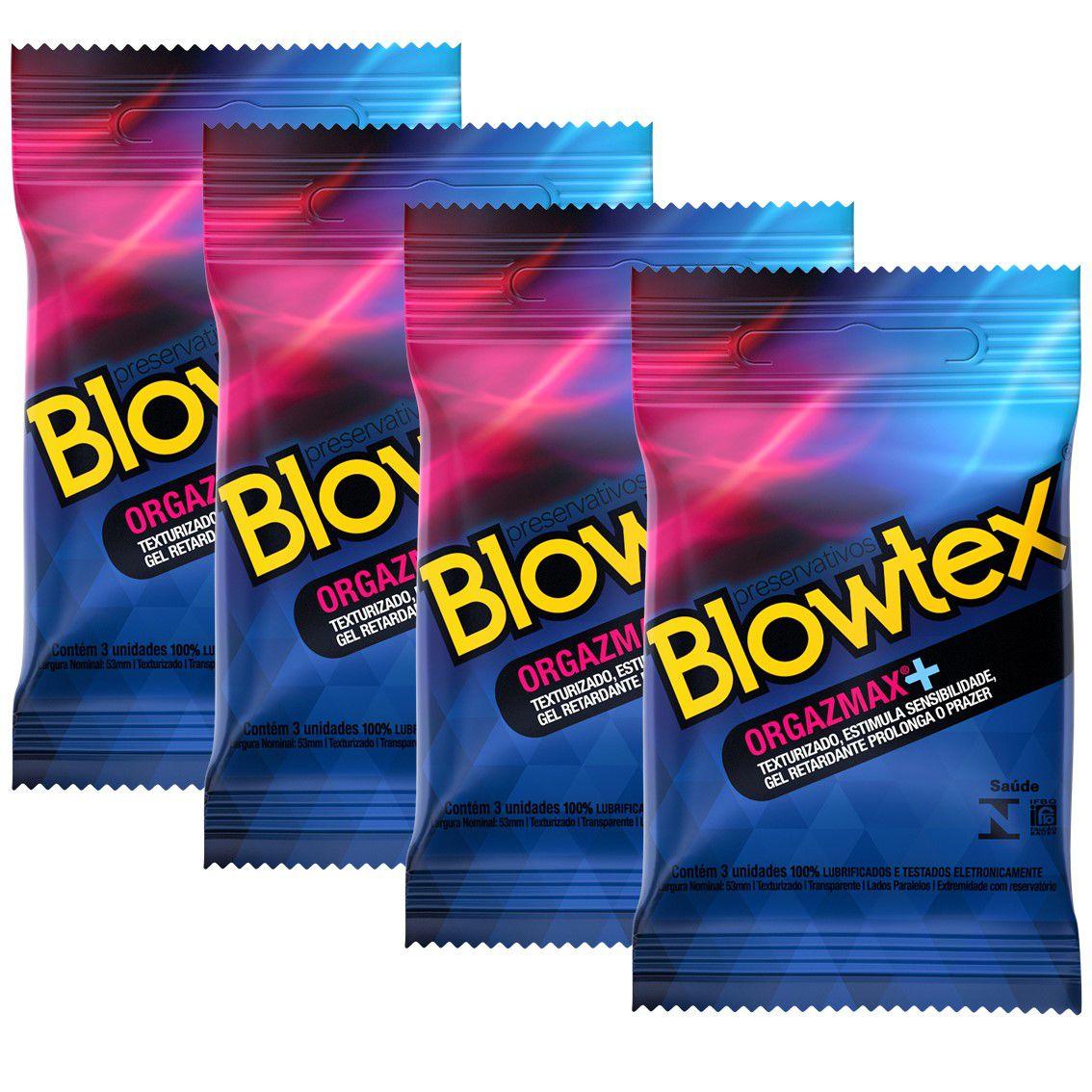 Kit com 12 Preservativo Blowtex Orgazmax c/ 3 Un Cada