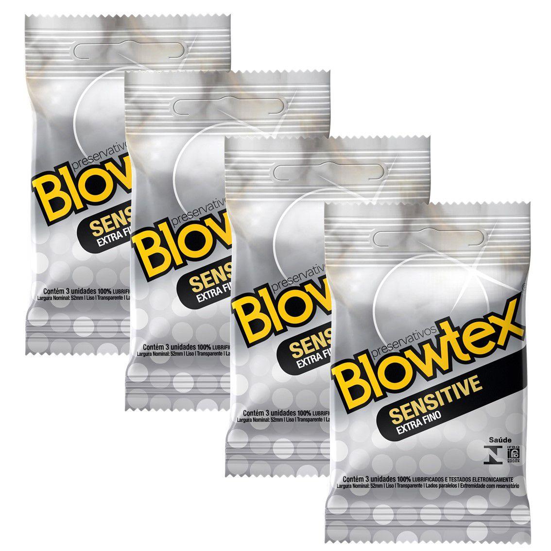 Kit com 12 Preservativo Blowtex Sensitive c/ 3 Un cada