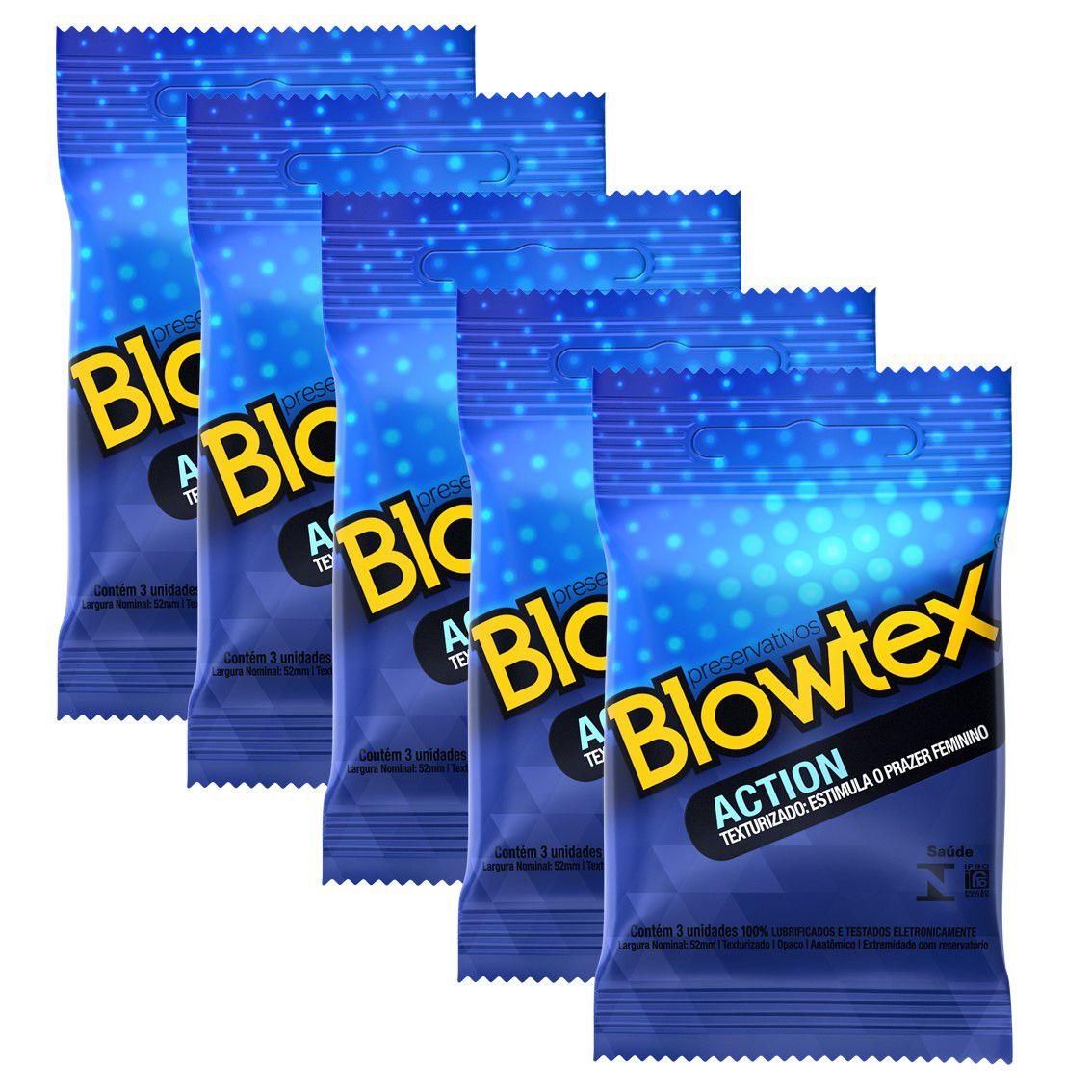 Kit 05 Pacotes Preservativo Blowtex Action com 03 Unidades cada