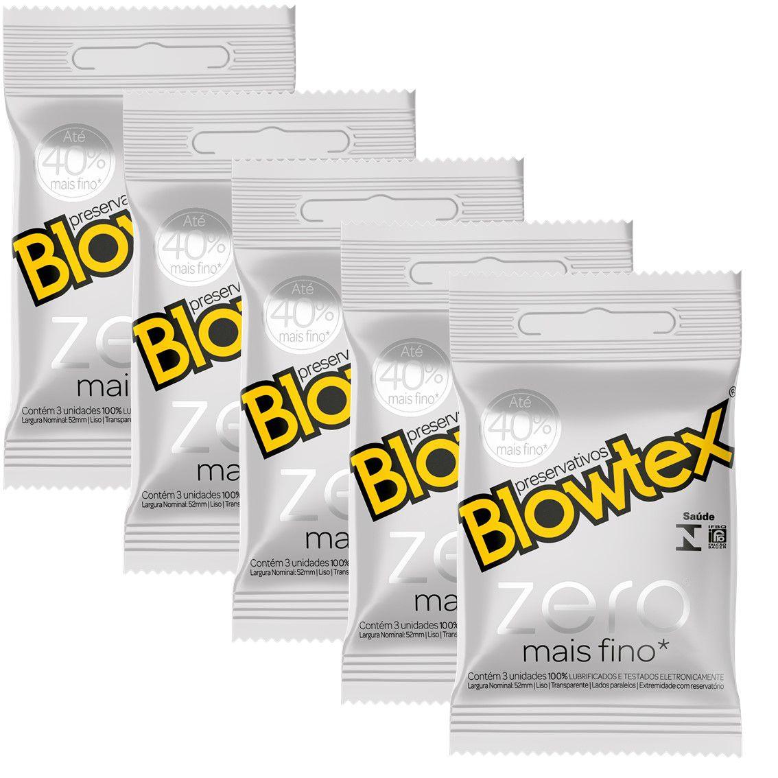 Kit com 15 Preservativo Blowtex Zero c/ 3 Un Cada