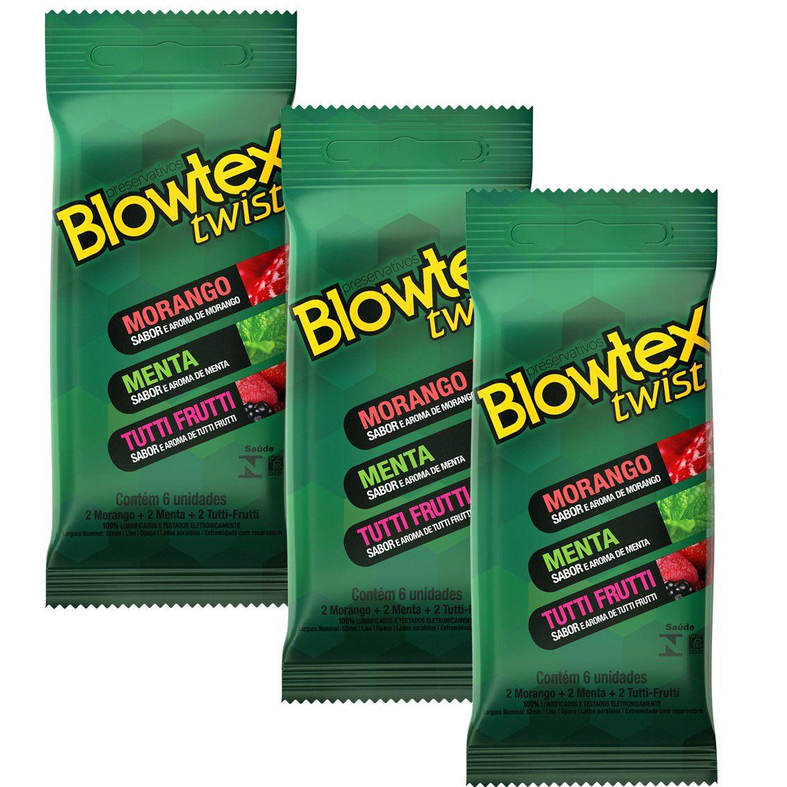 Kit com 18 Preservativo Blowtex Twist c/ 6 Un Cada