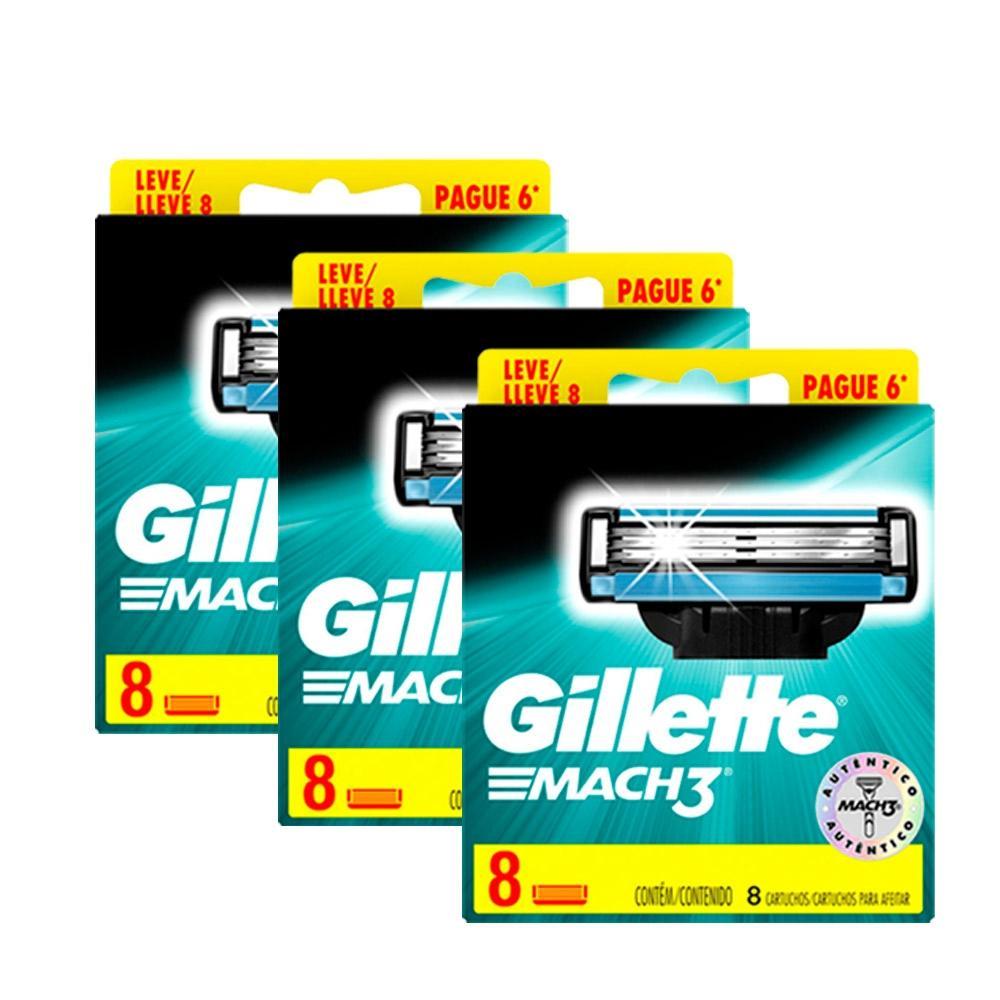 Kit com 24 Cargas Gillette Mach3 Leve 8 Pague 6