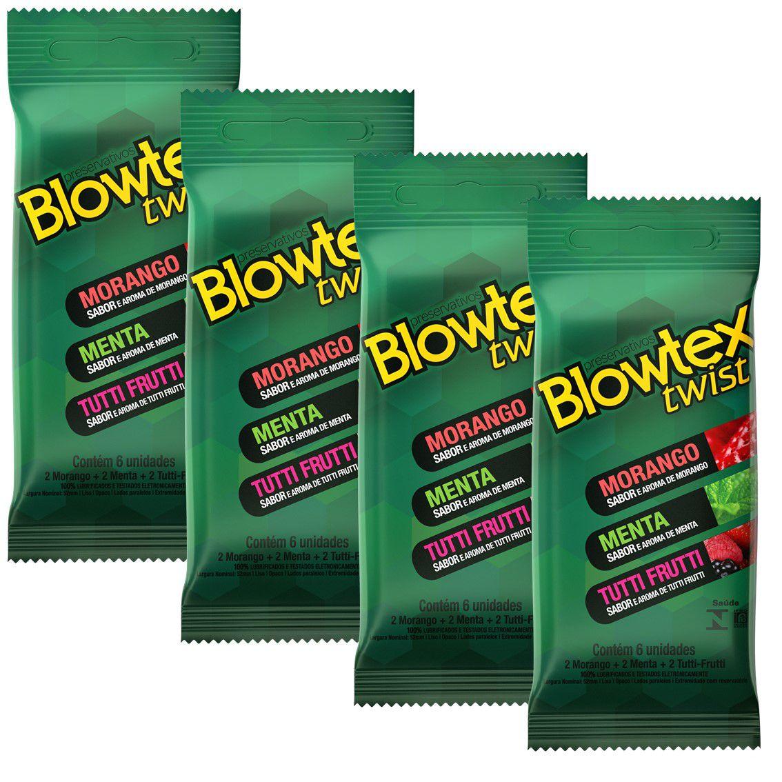 Kit com 24 Preservativo Blowtex Twist c/ 6 Un Cada