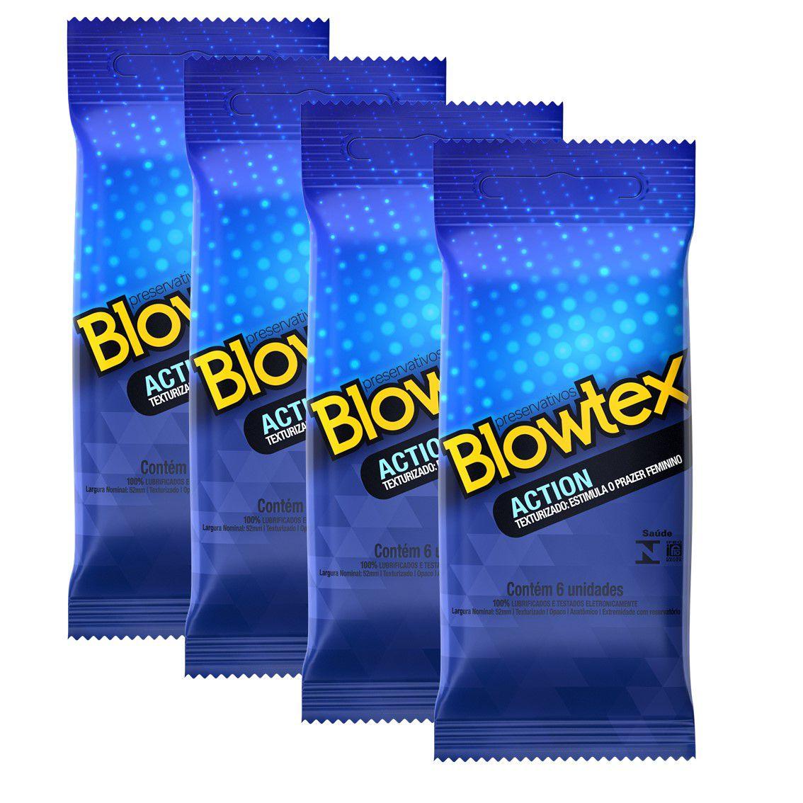 Kit 04 Pacotes Preservativo Blowtex Action com 06 Unidades cada