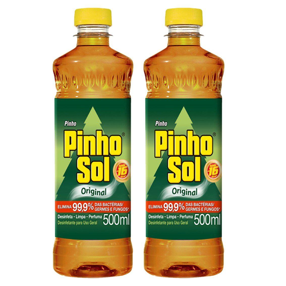 Kit com 2 Desinfetante Pinho Sol Original 500ml Cada