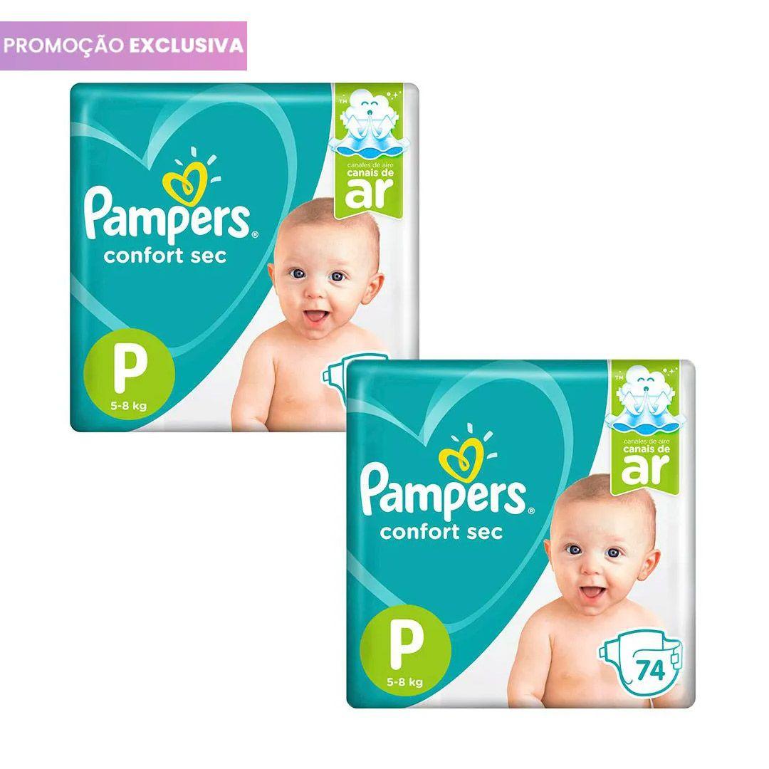 Kit com 2 pacotes de Fraldas Pampers Confort Sec Super Tamanho P (148 tiras no total)