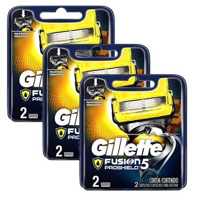 Kit com 3 Cargas Gillette Aparelho de Barbear Fusion Proshield c/2