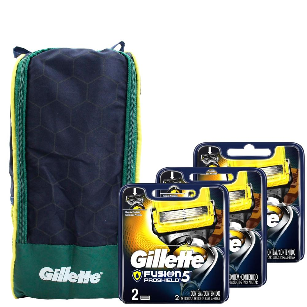 Kit com 3 Cargas Gillette Fusion Proshield c/2 + Porta Chuteira