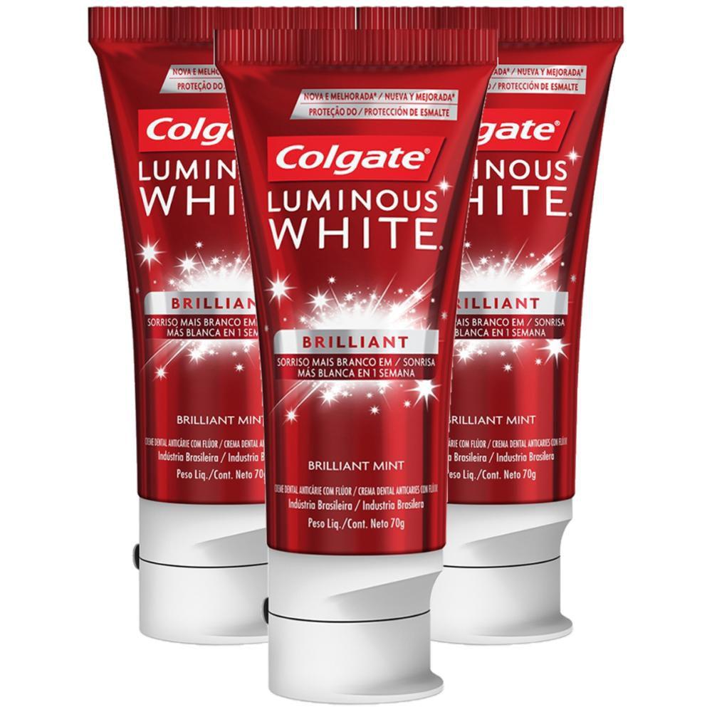 Kit com 3 Cremes Dentais Colgate Luminous White Brilliant 70g
