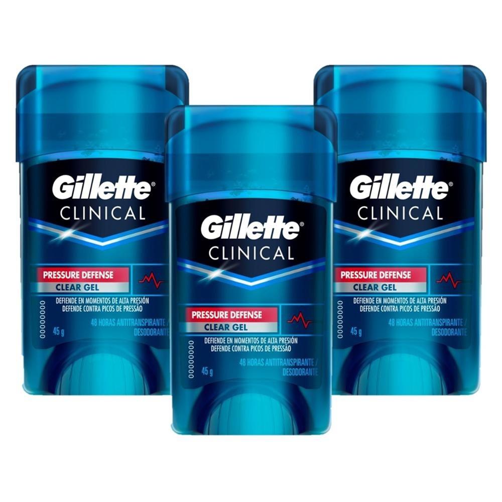 Kit com 3 Desodorantes Gillette Clinical Gel Pressure Defense + Grátis: 1 Porta Chuteira Gillette