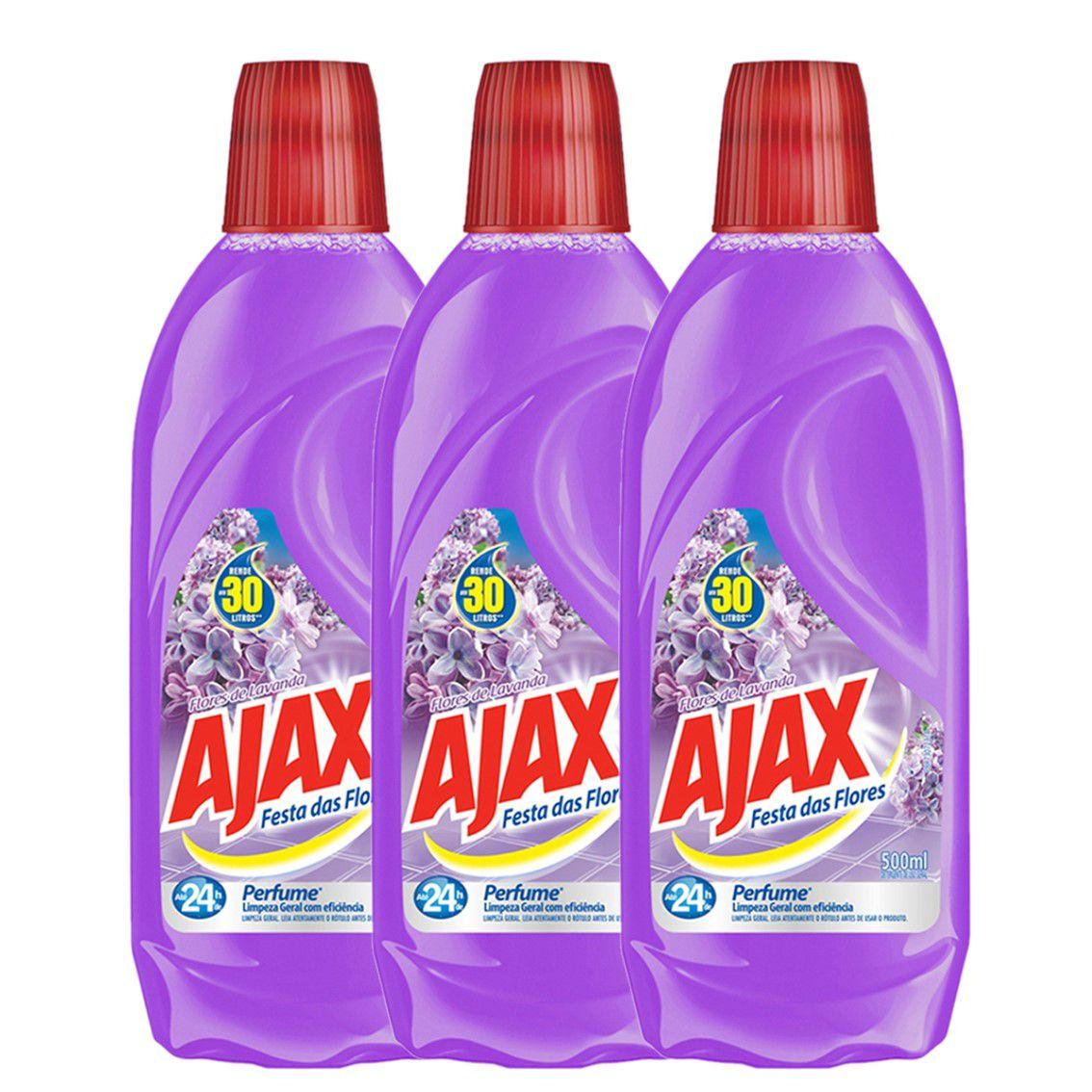 Kit com 3 Limpador Diluível Ajax Festa das Flores Lavanda 500ml Cada