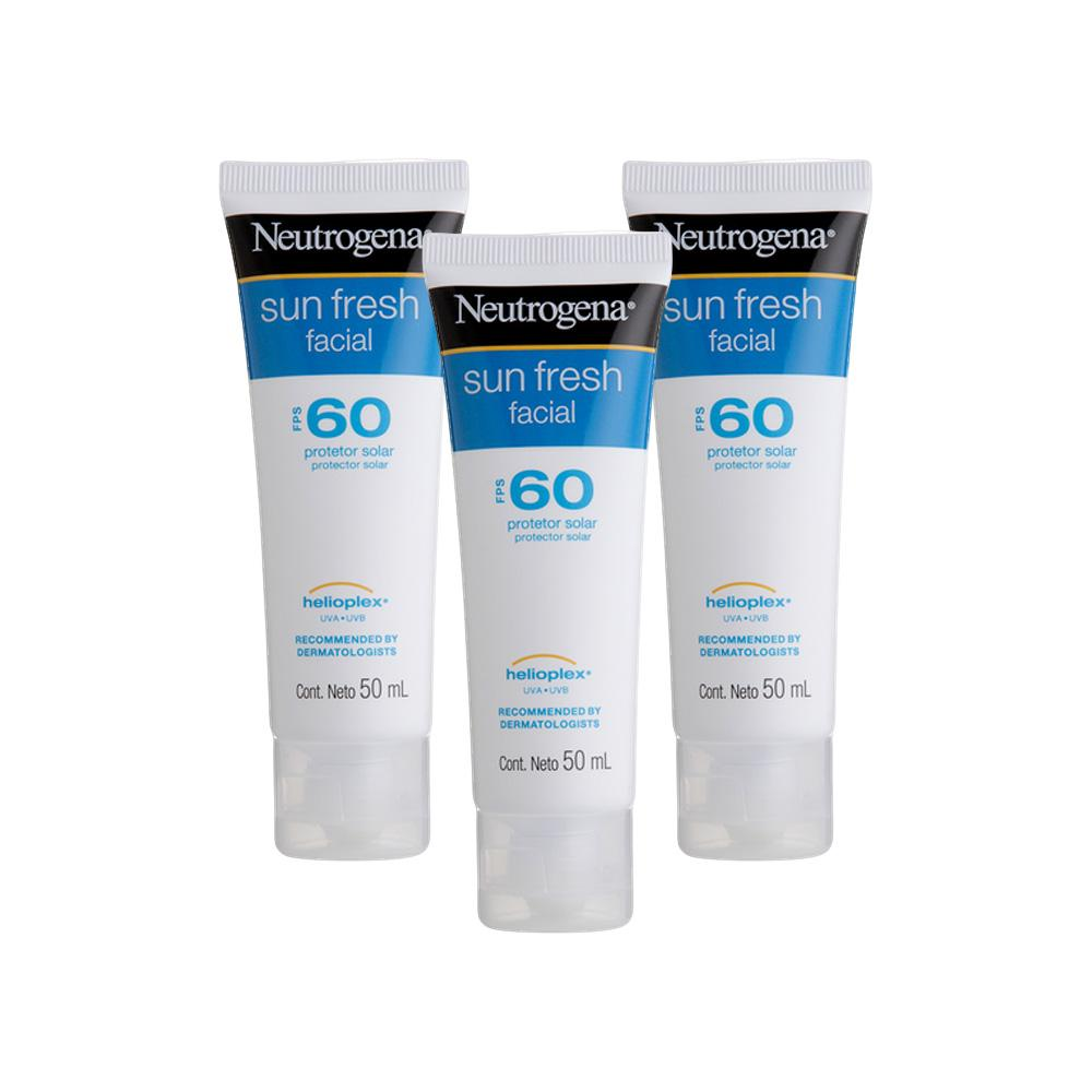 Kit com 3 Protetores Solar Facial Neutrogena Sun Fresh FPS 60 50g