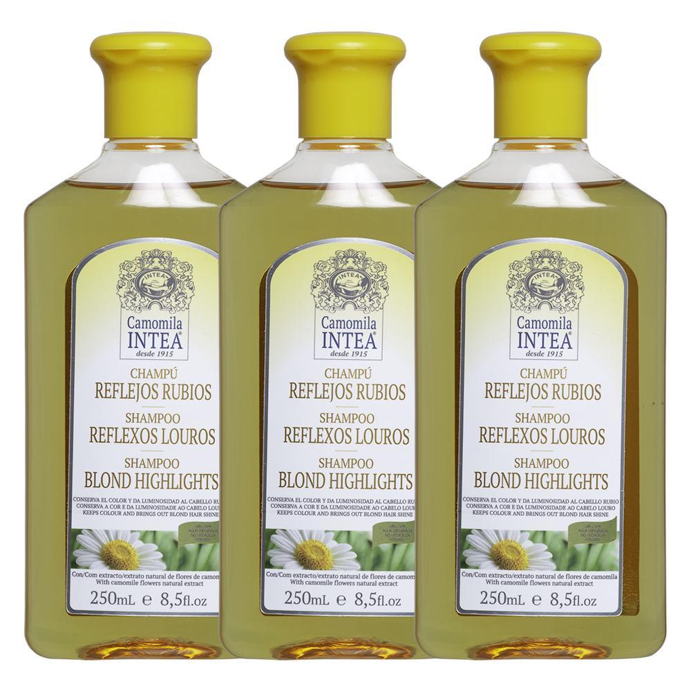 Kit com 3 Shampoo Intea Reflexos louros 250mL