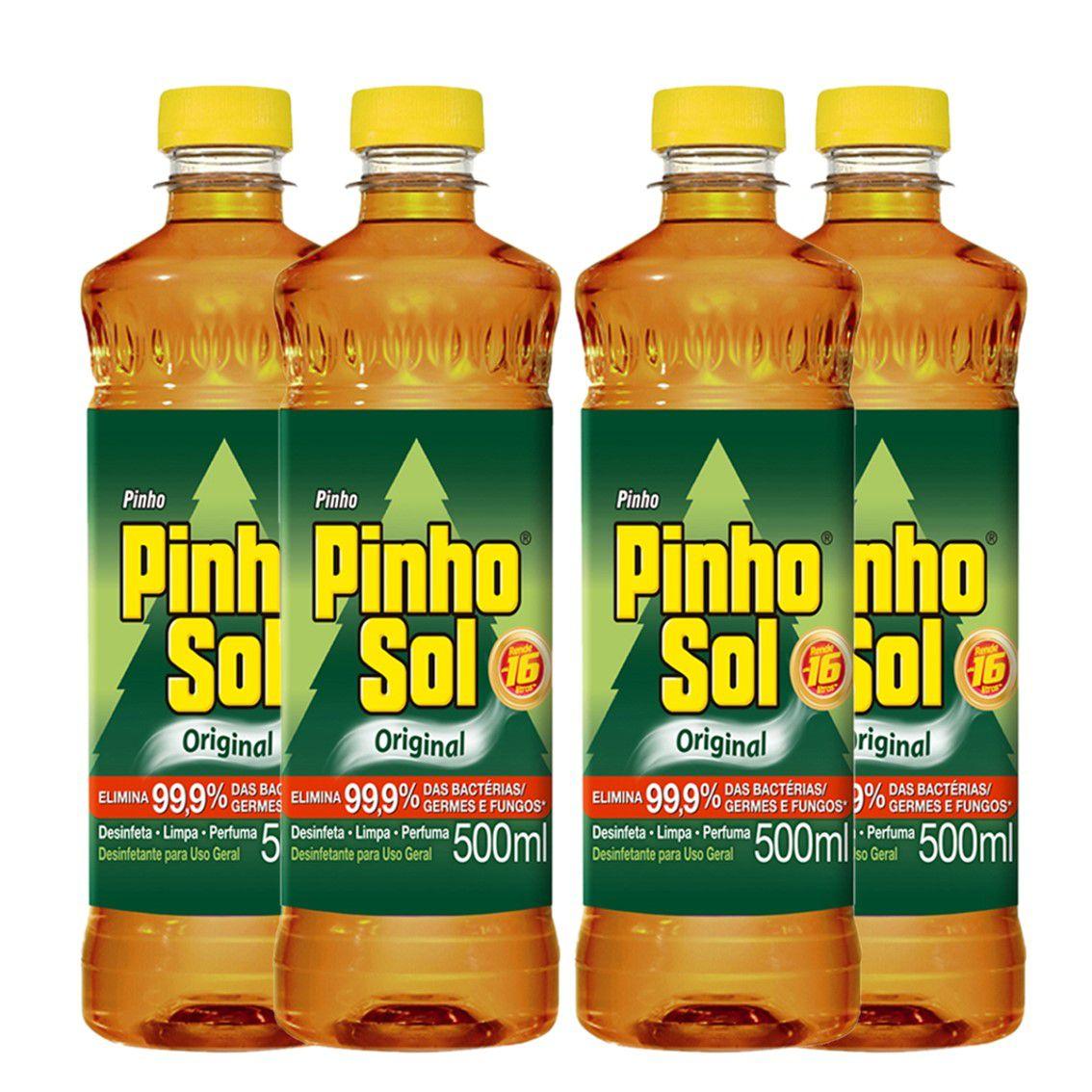 Kit com 4 Desinfetante Pinho Sol Original 500ml Cada