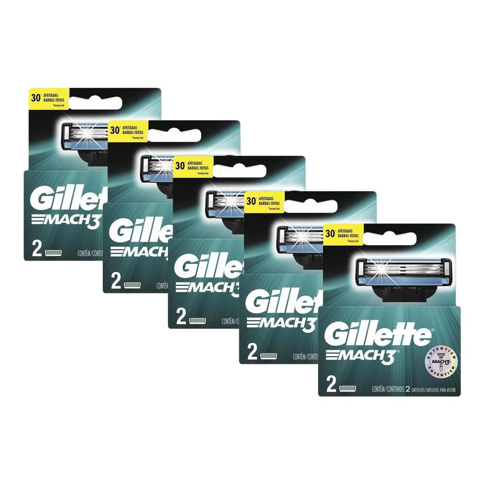 Kit com 5 Carga Gillette Mach3 c/ 2 unidades