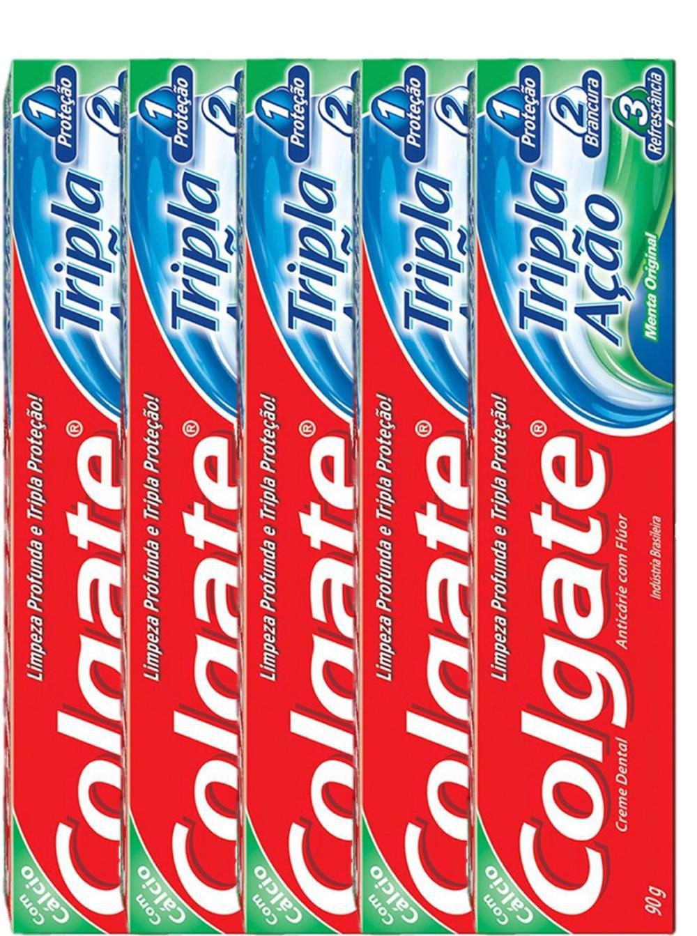 Kit com 5 Cremes Dentais Colgate Máxima Proteção Anticáries 90g