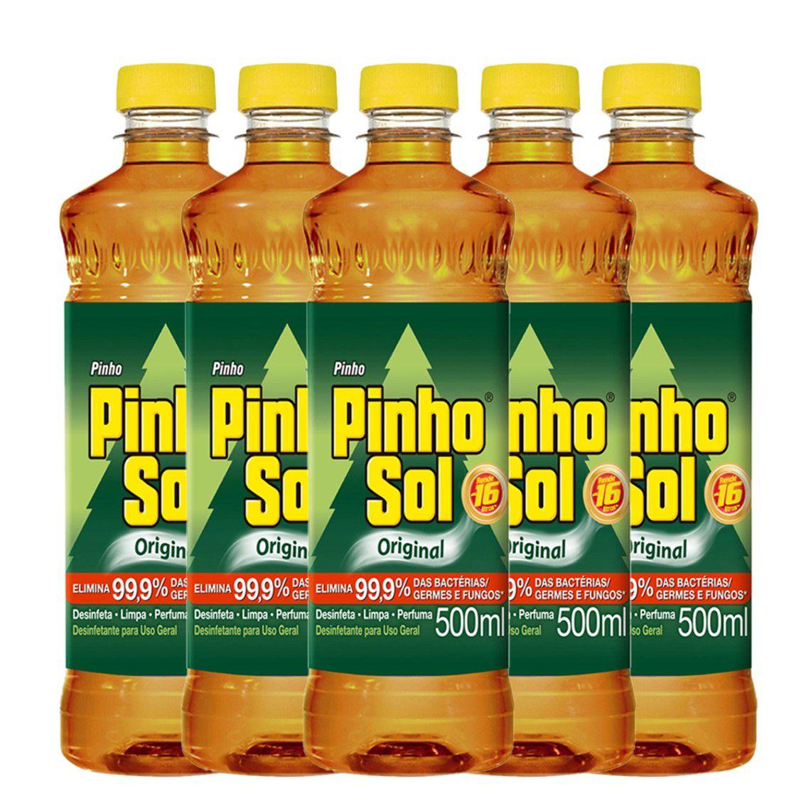 Kit com 5 Desinfetante Pinho Sol Original 500ml Cada