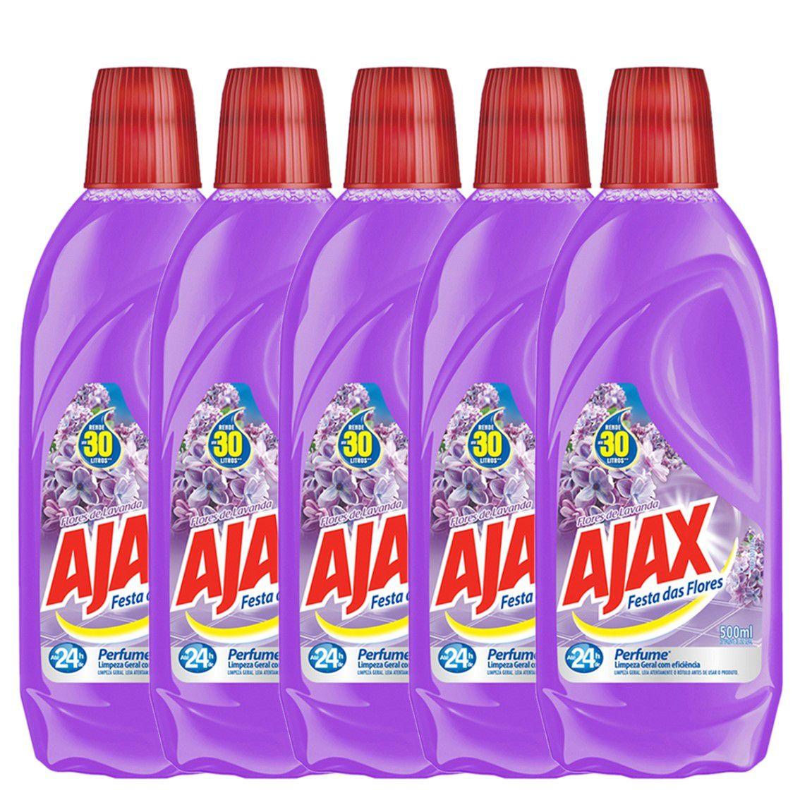 Kit com 5 Limpador Diluível Ajax Festa das Flores Lavanda 500ml Cada