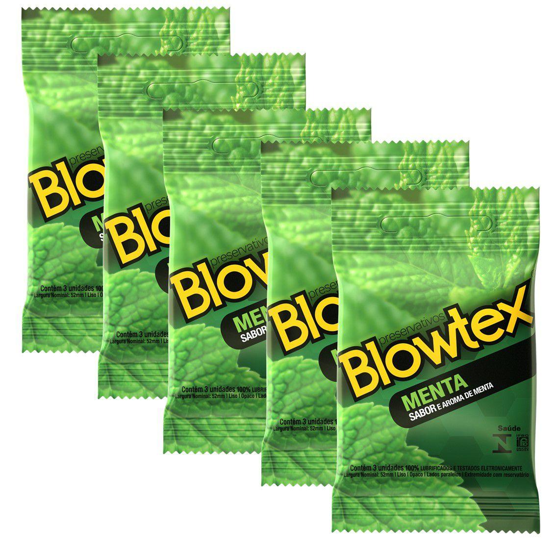 Kit com 5 Pacotes Preservativo Blowtex Menta c/ 3 Un Cada