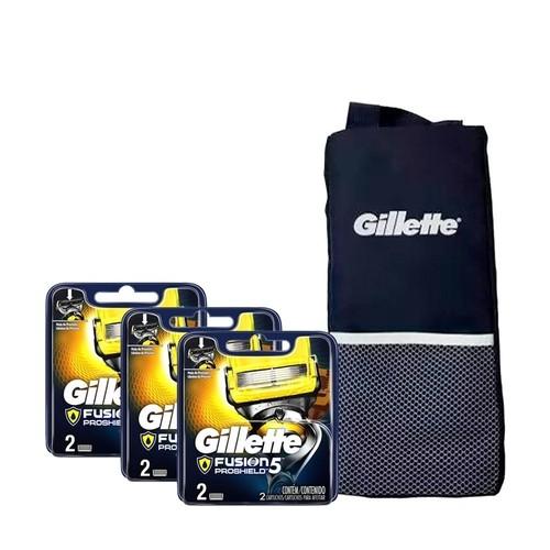 Kit com 6 Cargas Gillette Fusion Proshield + Porta Chuteira