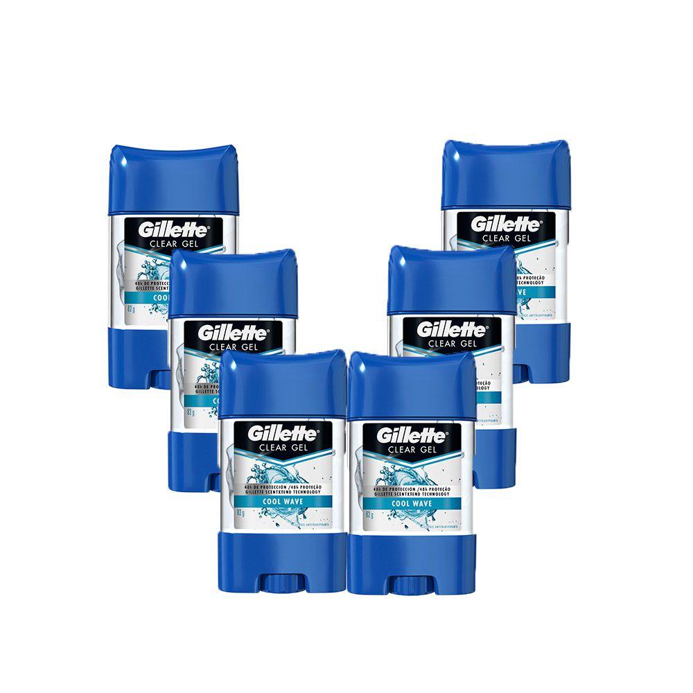 Kit 6 Desodorantes Gillette Clear Gel Cool Wave 82g