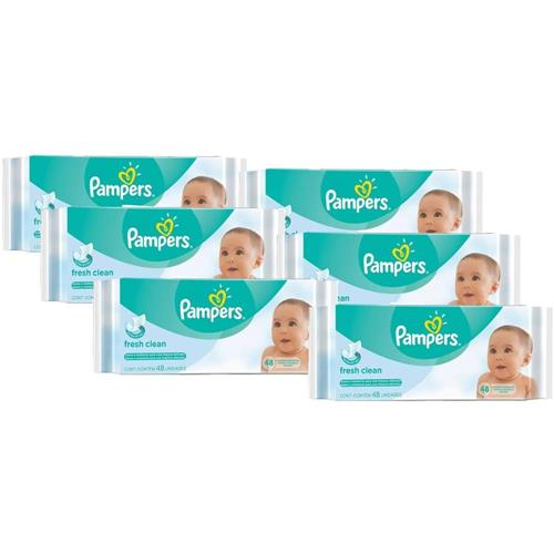 Kit com 6 Toalhinhas Umedecidas Pampers Regular c/ 48