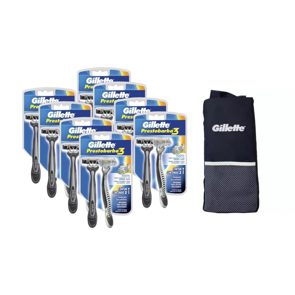 Kit com 8 Aparelhos de Barbear Gillette Prestobarba 3 c/ 2 unidades + Porta Chuteira
