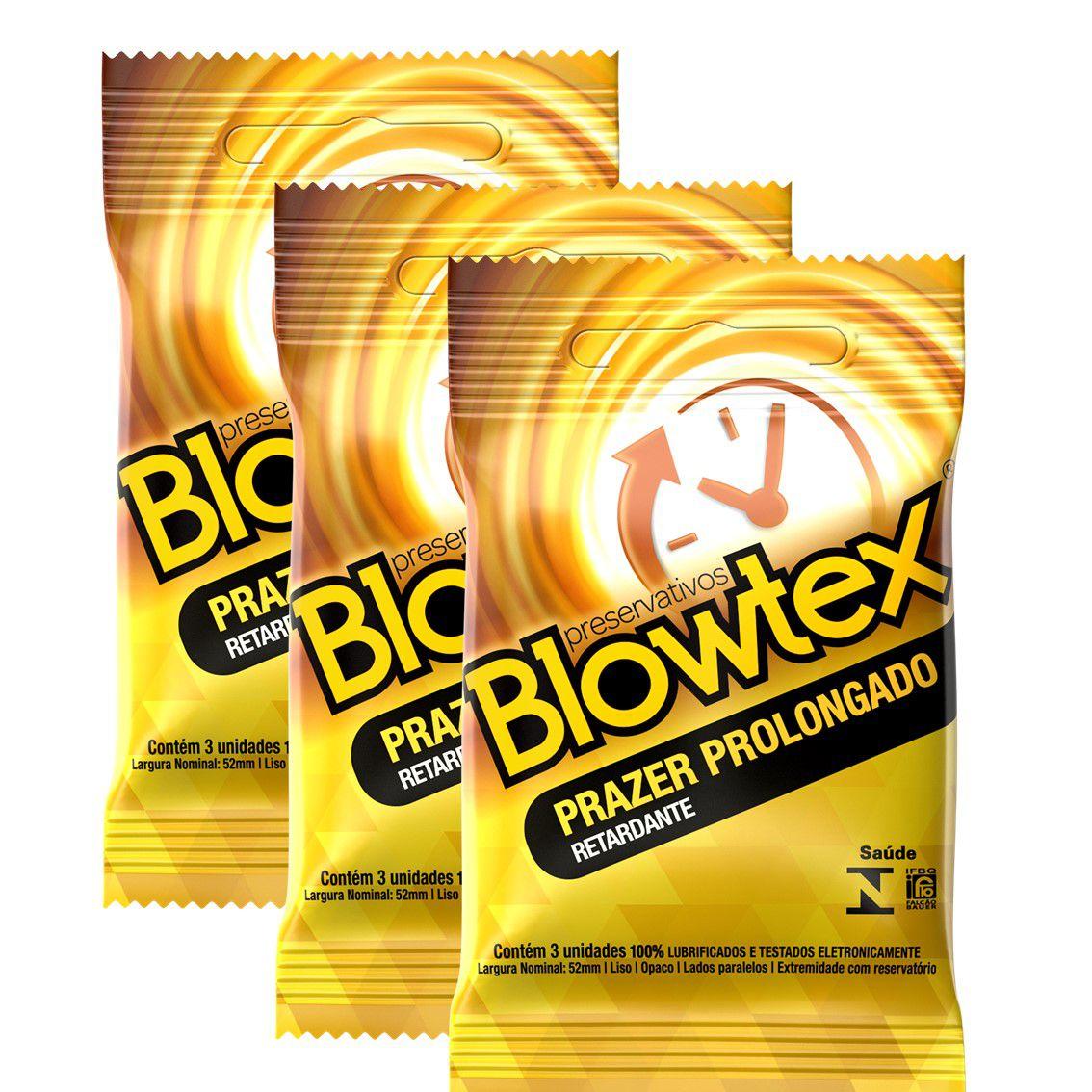 Kit com 9 Preservativo Blowtex Retardante c/ 3 Un Cada