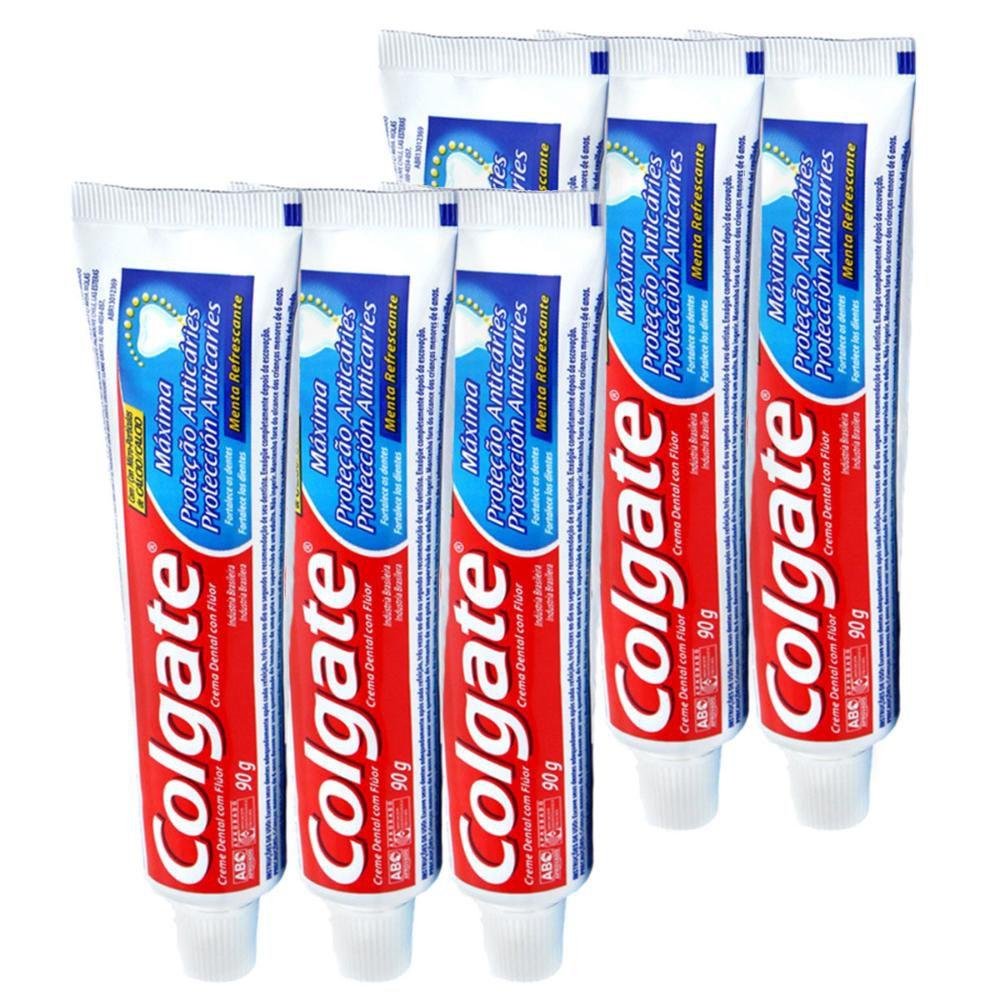 Kit Creme Dental Colgate Máxima Proteção Anticáries 90g com 6 unidades