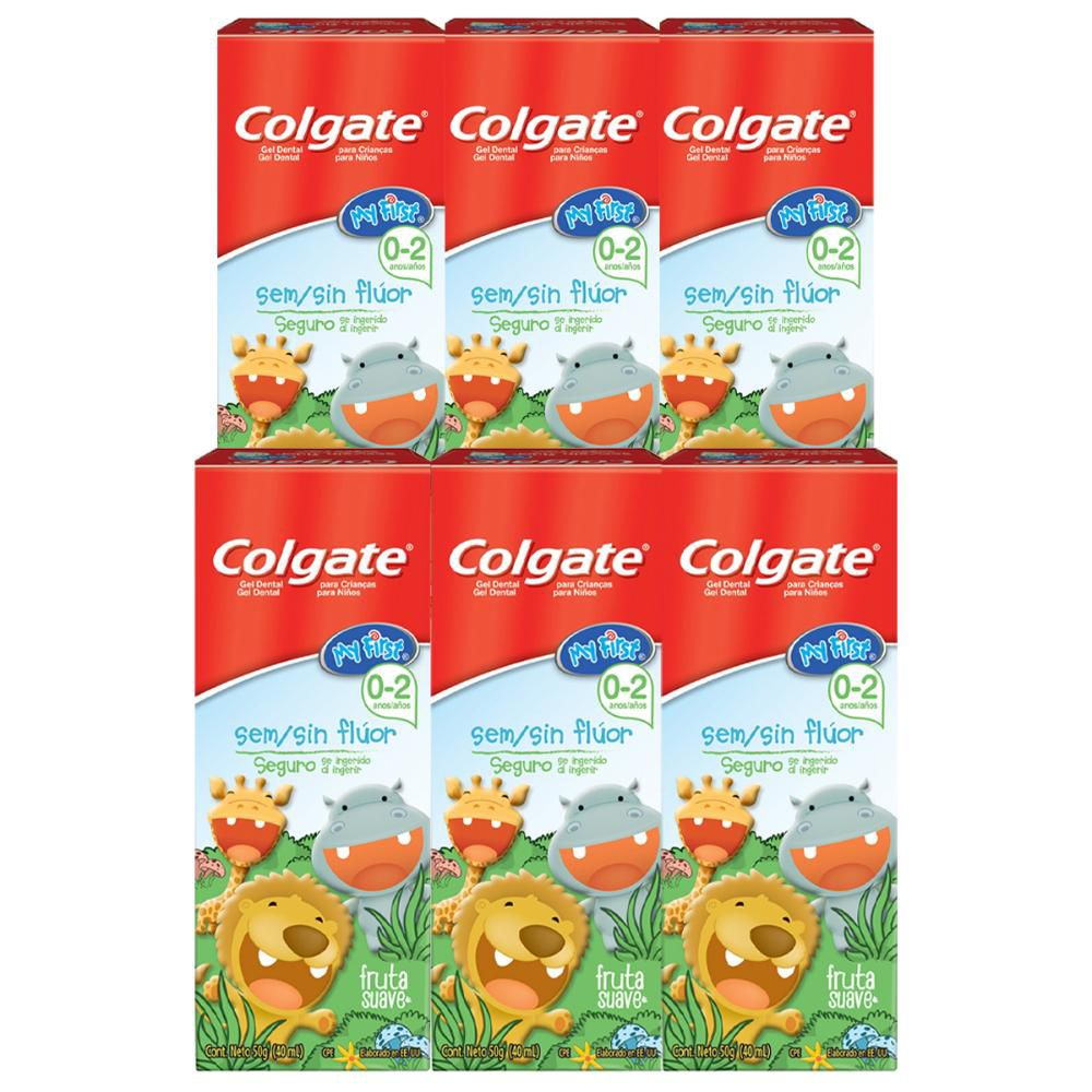 Kit Creme Dental Colgate My First Sem Flúor 50g com 6 unidades