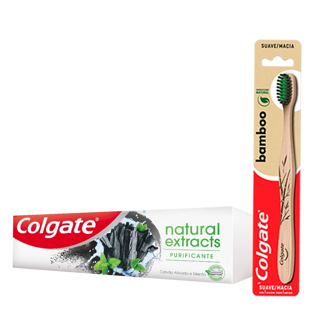 Kit Creme Dental Colgate Natural Extracts Purificante 90g+ Escova Dental Bamboo + Sacola Ecologica