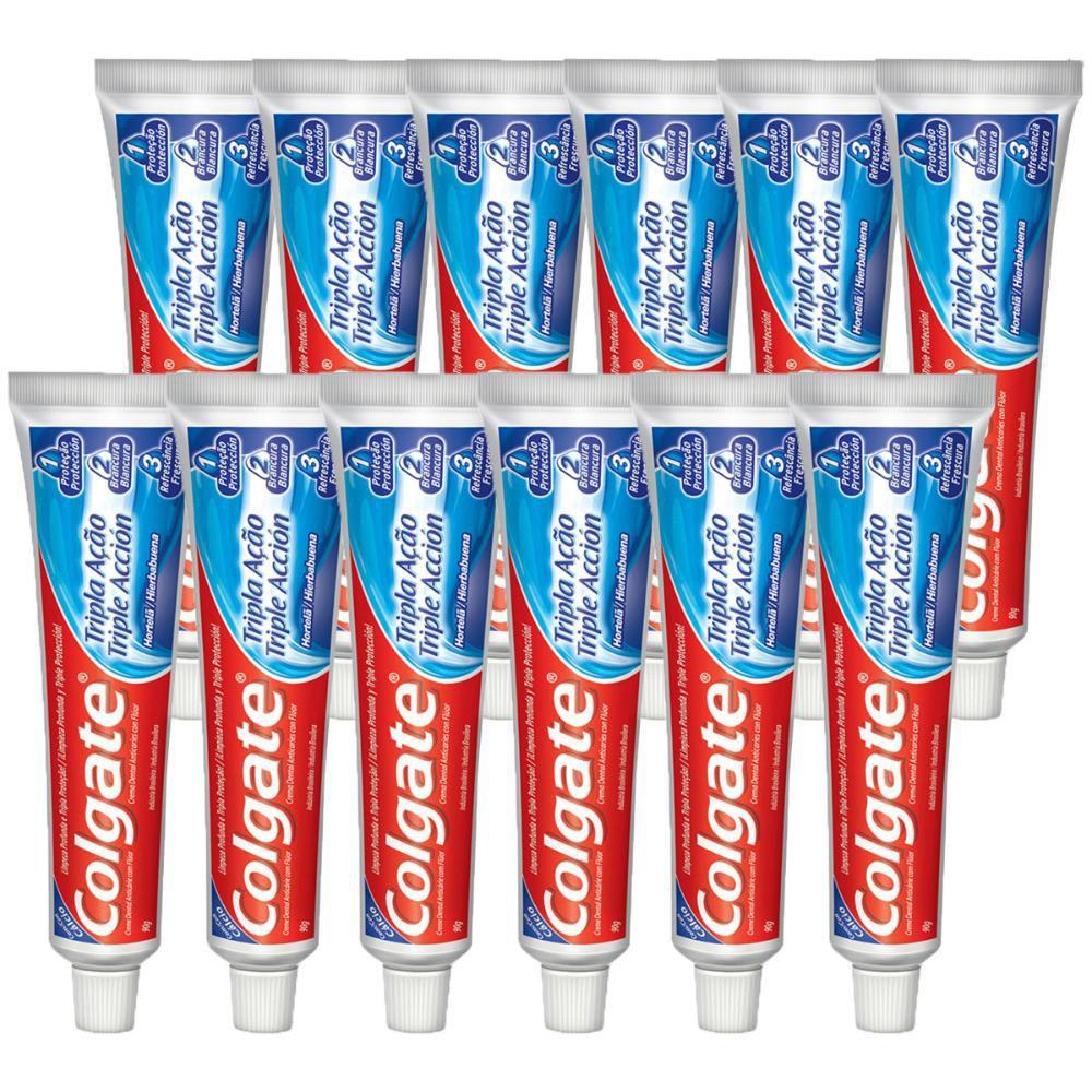Kit Creme Dental Colgate Tripla Ação Hortelã 90g com 12 unidades