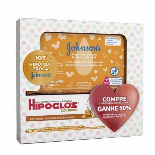 Kit Creme Preventivo Contra Assaduras Hipoglós Amêndoas 80g + Lenço Umedecido Johnsons Limpeza e Suavidade