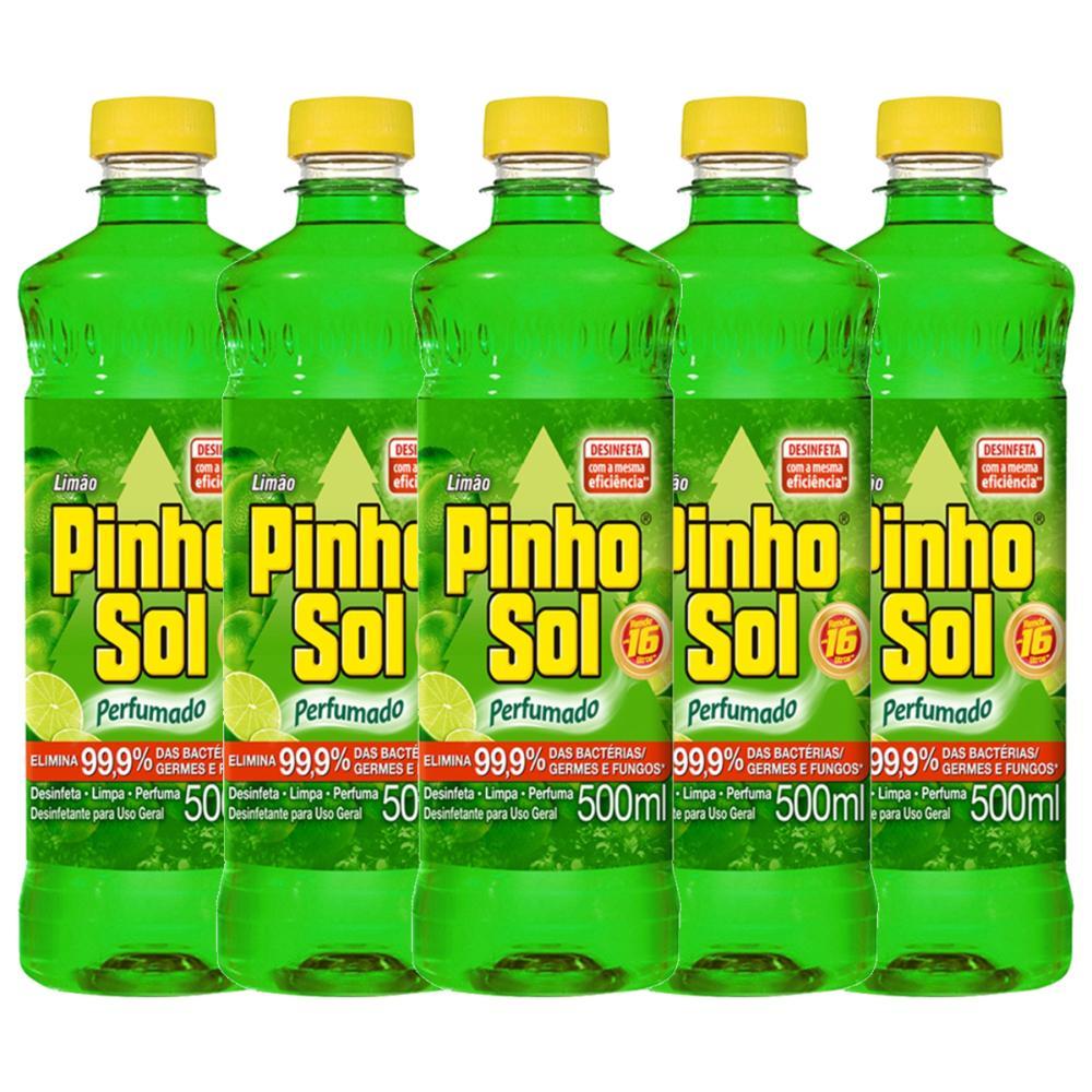 Kit Desinfetante Pinho Sol Limão 500mL com 5 unidades