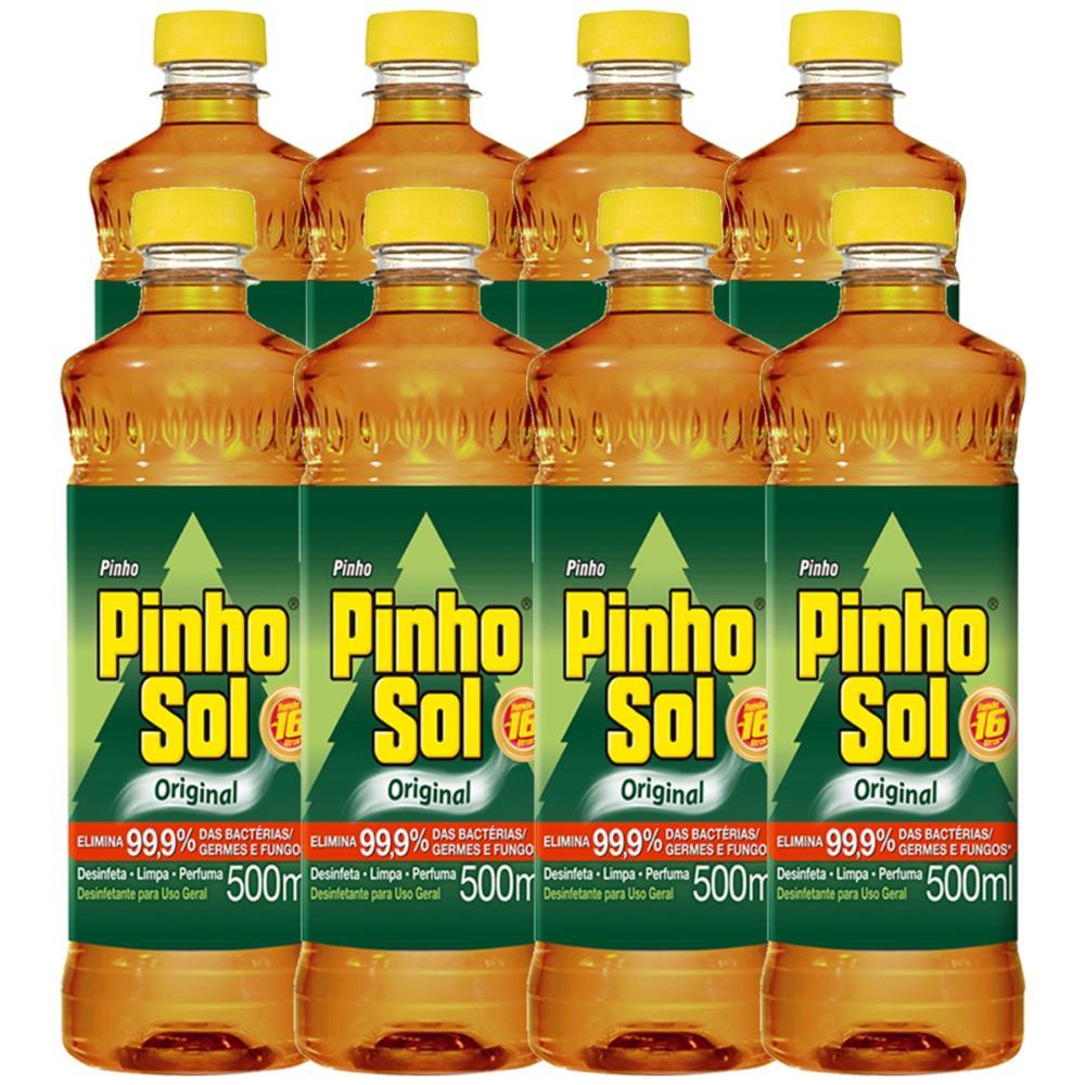 Kit Desinfetante Pinho Sol Original 500ml com 8 unidades